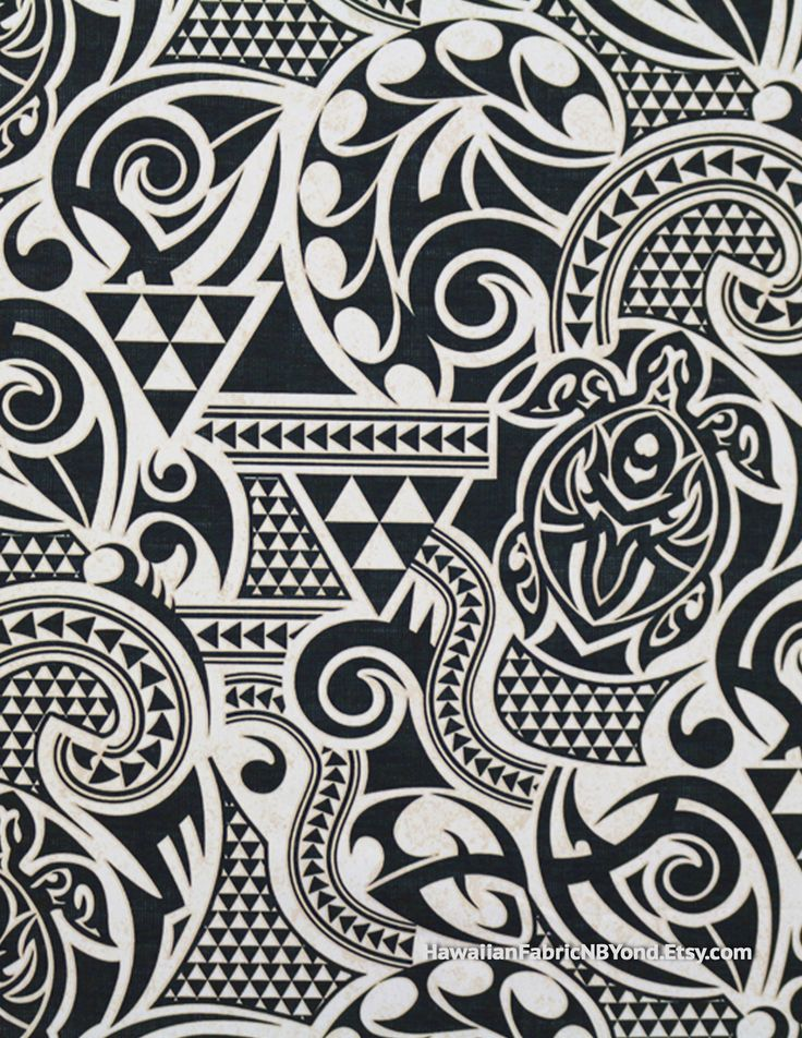 Fabric: Polynesian tribal tapa tattoo patterns and petroglyph turtles in black, white and cream. Cotton. By HawaiianFabricNBYond.Etsy.com