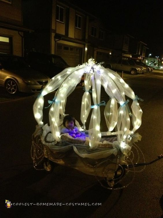 Cinderella in her Carriage Stroller Halloween Costume | Coolest Homemade Costumes and other adorable halloween stroller costumers!
