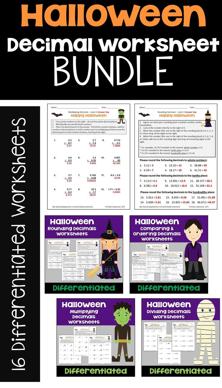 Halloween Math Is Fun For Kids With This Halloween Decimal Worksheet Bundle For 4th 5th And 6th Grade Upper E Halloween Math Decimals Worksheets Math Centers [ 1288 x 736 Pixel ]