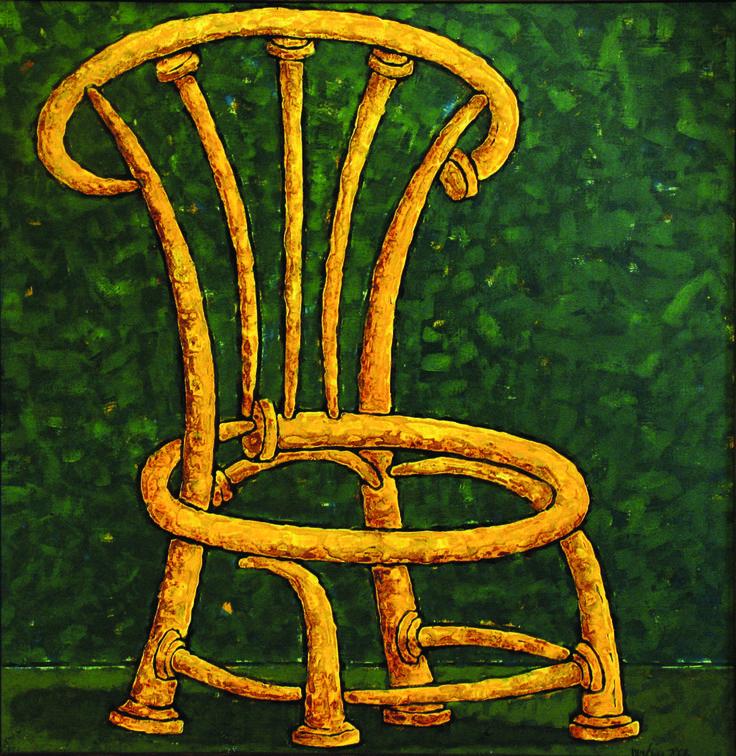 "Chair of yellow nails-size 31""x31""(89x79см) - Картина,  79x80 cm ©2015 - DMITRIY TRUBIN -                                                                                                            Абстрактное искусство, Абстрактный экспрессионизм, Современная живопись, Холст, Абстрактное искусство, Архитектура, Цвета, art, trubin, popular art, fine art, chair, art painting, by art, cheap art, by painting, colorful, oil"