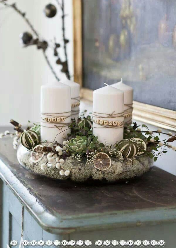 .I love this, but I would want to write out the meaning of each candles (hope, love, peace, joy) instead of the numerical order.