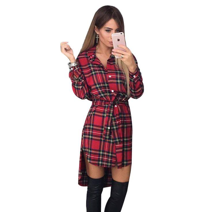 2017 dress vrouwen onregelmatige plaid shirt jurken sexy lange mouwen kraagvorm office casual dress lj5932c