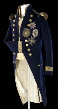 UNIFORME DI HORATIO NELSON INDOSSATA DURANTE LA BATTAGLIA DI TRAFALGAR,TALE UNIFORME IN VIGORE DAL 1795/1805