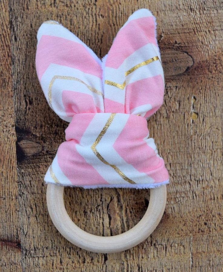 Pink/Gold Bunny Ears Wooden Teething Ring