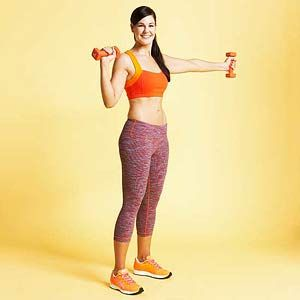 Blast underarm flab  Hammer Punch   bring dumbbells up to your shoulders keeping arms out away from the body puch out to the left and back and punch to the right and back, return arms to start for one full rep. 2 sets of 20 reps