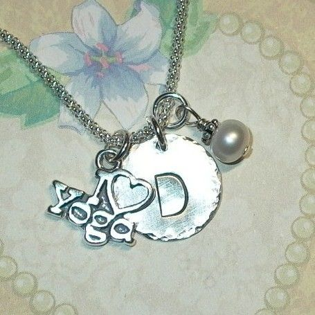 Yoga Necklace Yoga Jewelry I love Yoga by DolphinMoonCreations