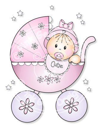 Digital Digi Baby Girl in Pram Stamp por PinkGemDesigns en Etsy