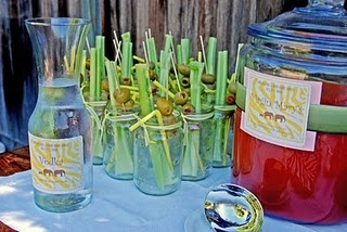 Bloody mary bar pre set glasses great for bridal brunch!!