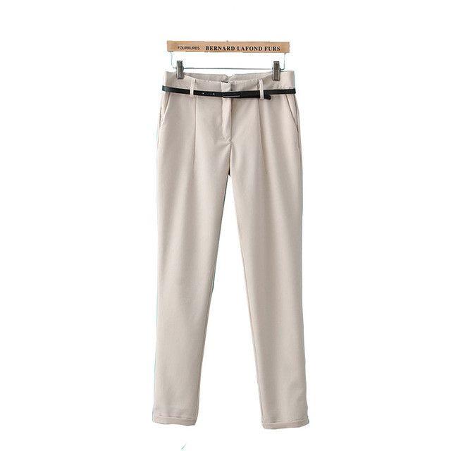 Women slim office lady Pants solid casual pencil capris fashion work wear basic trousers European casual pants KZ683