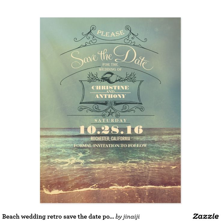 cruise wedding save the date announcement%0A Beach wedding retro save the date postcards