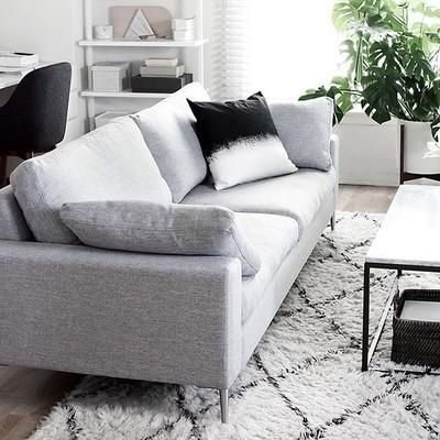 Light Gray Sofa 3 Seater With Metal Legs Article Nova Modern