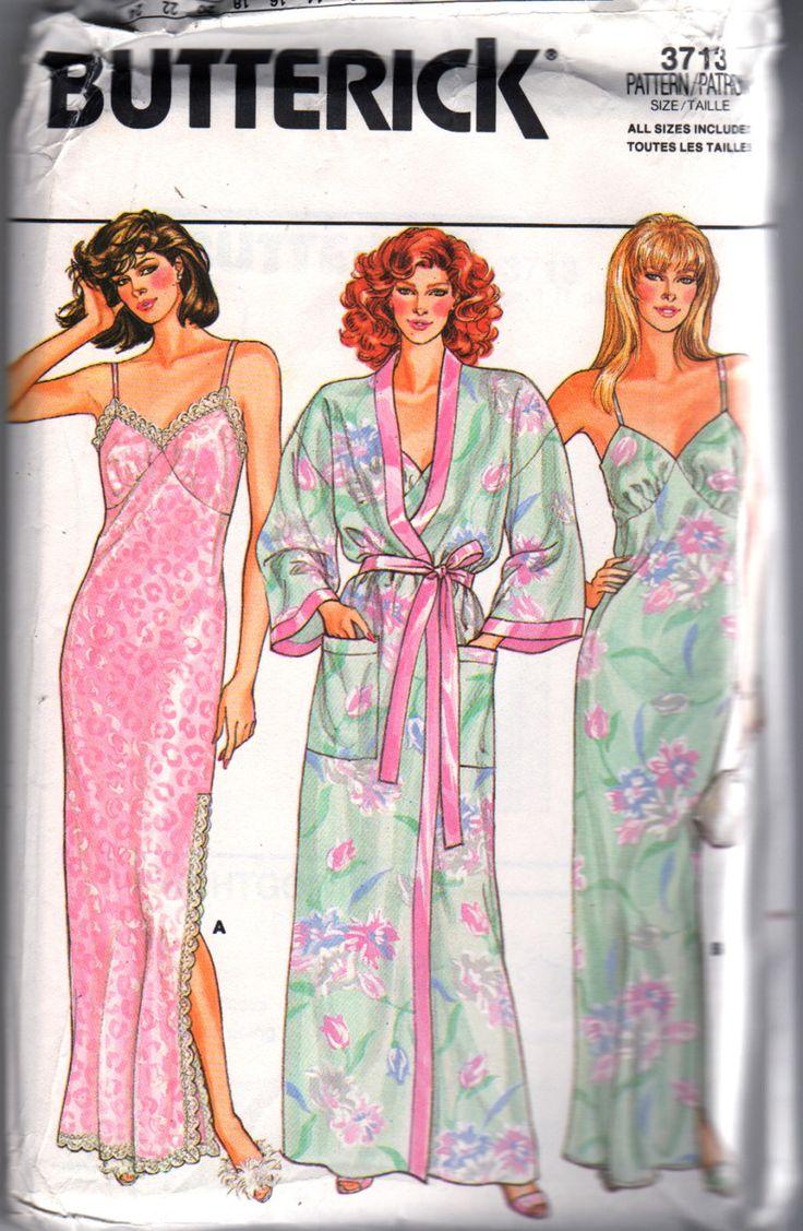Butterick 3713 1980s Misses soirée longueur chemise de nuit et