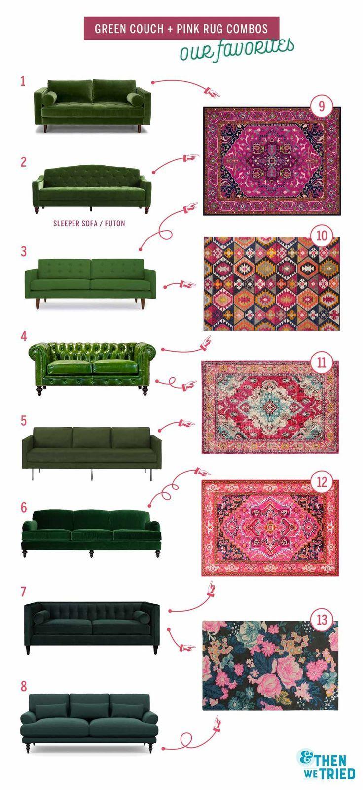 Perfekte grüne Couch und rosa Teppich Paarungen für eine helle und bunte