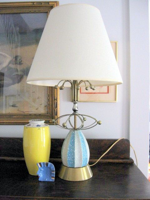 1950s Atomic Decorative Baby Blue Lamp by ToysnSuch on Etsy, $150.00