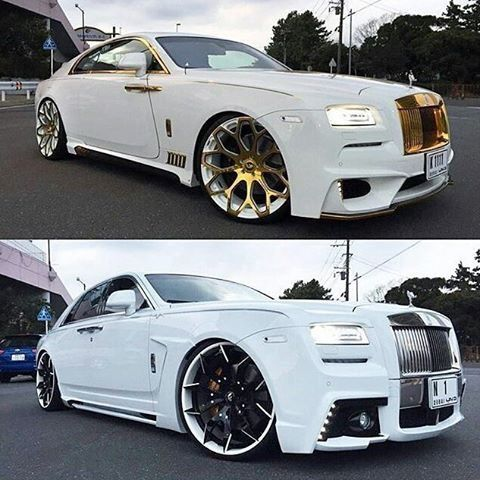 That #WhiteandGold Rolls Royce Phantom Mmm