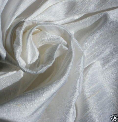 Pure White Bridal 100% dupioni silk fabric by DesignersNeeds