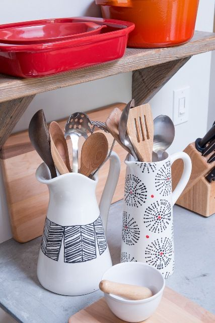 Show off pretty pitchers on your counter to store kitchen utensils. You can't beat stylish kitchen decor that serves as storage!