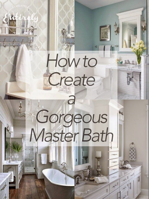 Simple ideas for creating a gorgeous master bathroom. Tips and ideas for making your master bathroom beautiful.