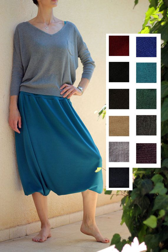 Turquoise harem skirt pant - harem pants Jersey - comfortable wide pants - thick Jersey trousers - Home wear - Yoga pants - Tall yoga pants by ShantimamaShop