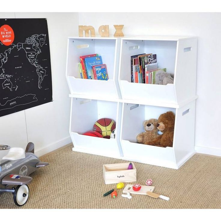 These stylish Stackable Toy Storage Boxes from Hip Kids are a great way to converse floor space. A variety of colours available