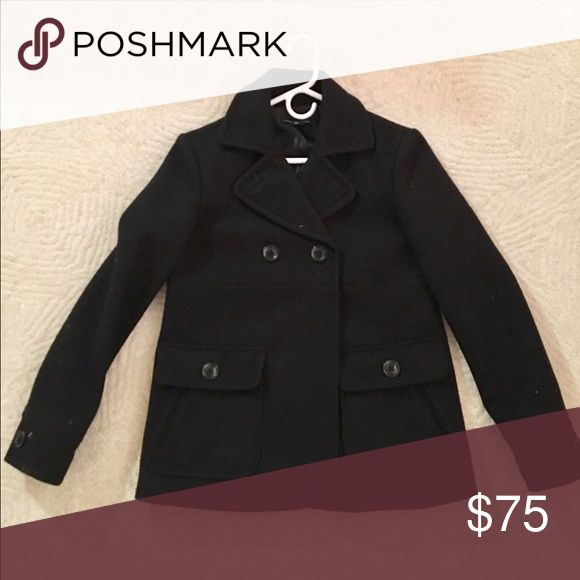 GAP Peacoat Black peacoat in great condition, VERY warm - cute double button detailing on the back GAP Jackets & Coats Pea Coats