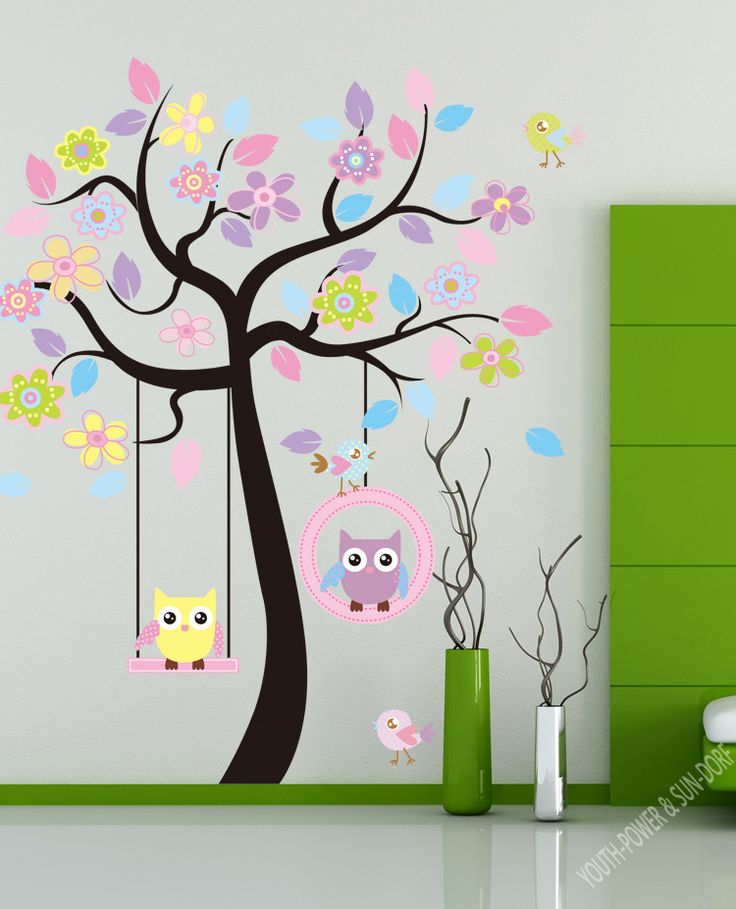 Removable wall stickers children's room Baby Nursery classroom home decoration stickers Cartoon Swinging Owls in Tree 60x90cm $16.99