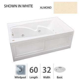 "View the Jacuzzi CTS6032 WRL 2HX 60"" x 32"" Cetra® Three Wall Alcove Comfort Whirlpool Bathtub with 8 Jets, Basic Controls, Heater, Right Drain and Left Pump at FaucetDirect.com."