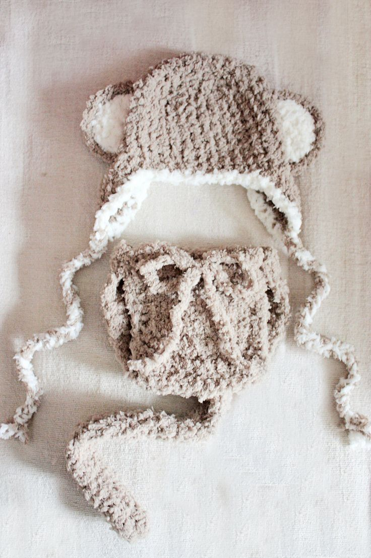 SALE* Crochet brown and cream unisex soft cheeky monkey earflap baby hat and diaper cover costume set for boys and girls. Handmade with love by Babamoon  - size 6 to 12m -   * Can be made in a choice of colours  * Can by made in sizes Preemie to Adult. * Get 10% off today! LAST DAY  * Eligible orders Ship for Free!  #etsy #children #baby #brown #monkeyhat #monkey #babycostume