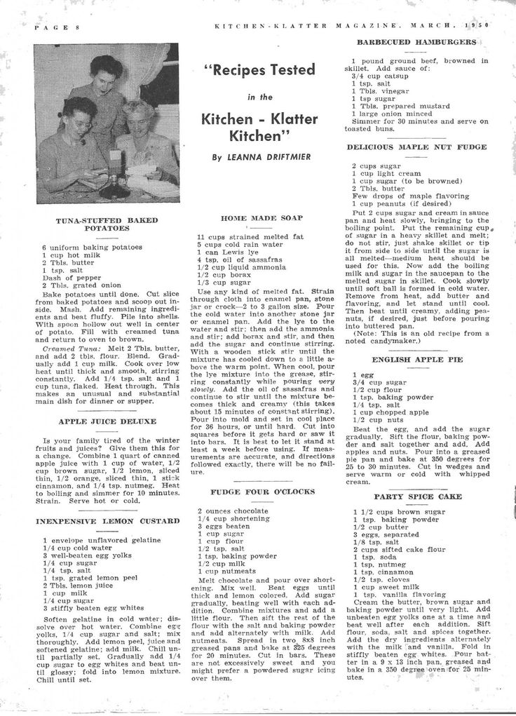Kitchen Klatter Magazine, March 1950 - Tuna Stuffed Baked Potatoes, Apple Juice Deluxe, Inexpensive Lemon Custard, Home Made Soap, Fudge Four O'Clocks, Barbecued Hamburgers, Delicious Maple Nut Fudge, English Apple Pie, Party Spice Cake