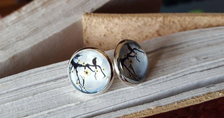Ohrring Ring Ohr Ears Schmuck Jewerely 12 mm Größe Grau Schwarz Vogel Wald Wood von FairysWonderland auf Etsy