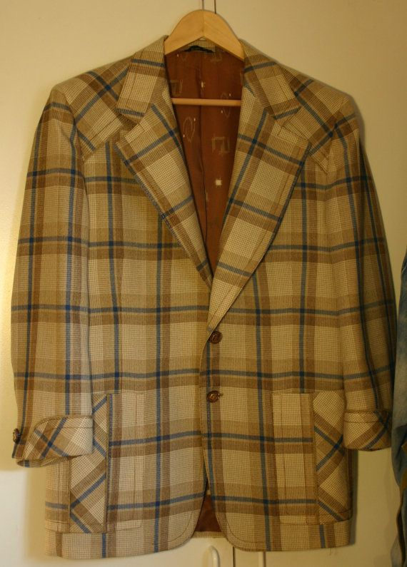 60s to 70s Size 44R Mens Sports Jacket, Oh So Brady Bunch Cool, Fresh From The Cleaners, Hipster Plaid Roxbury Brand Of California Hipster