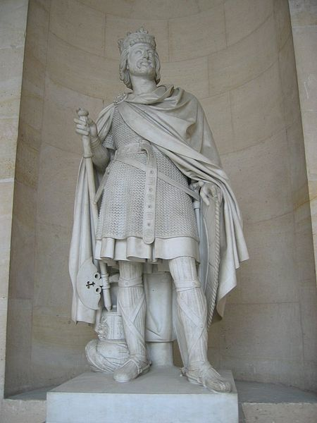 """Charles Martel """"The Hammer"""" (688-741) King of the Franks. [Statue at the Chateau de Versailles]. Martel's victory at the Battle of Tours ended the advance of the Moors into Europe. Upon his death the kingdom was divided between his sons Carloman and Pepin, the father of Charlemagne."""