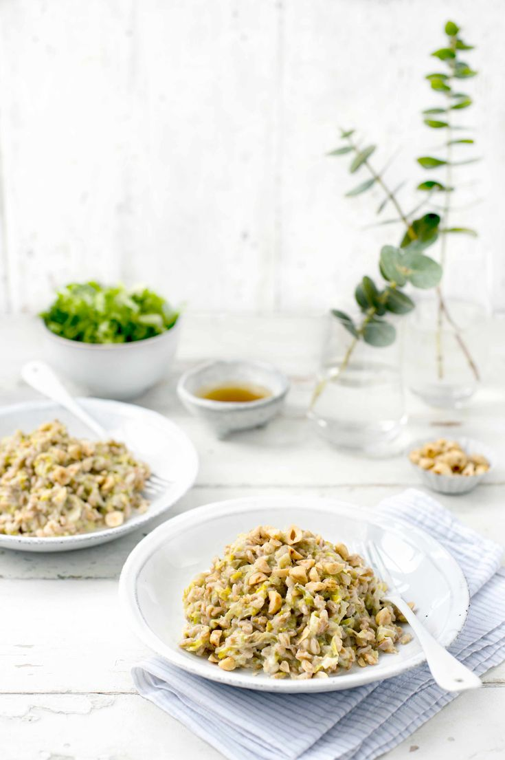 Leek and farro risotto with toasted hazelnuts