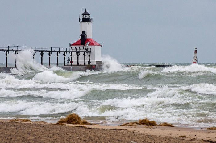 Lighthouse at Michigan City, Indiana on the south shore of Lake Michigan.
