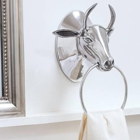Contemporary Decorative Towel Rings Unique Bull Head