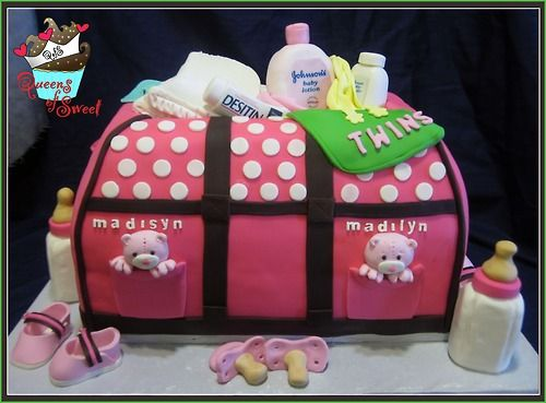 Baby Shower Diaper Bag Cake Made For Twin Girls!