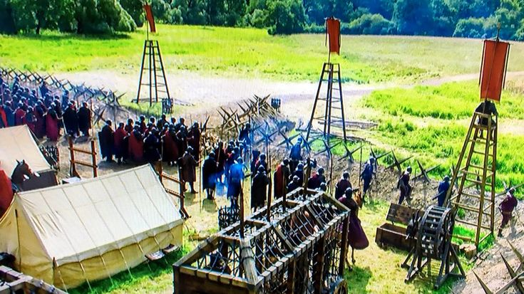 Screen capture from Sky Atlantic's #Britannia ep 2. Nice Roman marching camp w/ trench & stakes.
