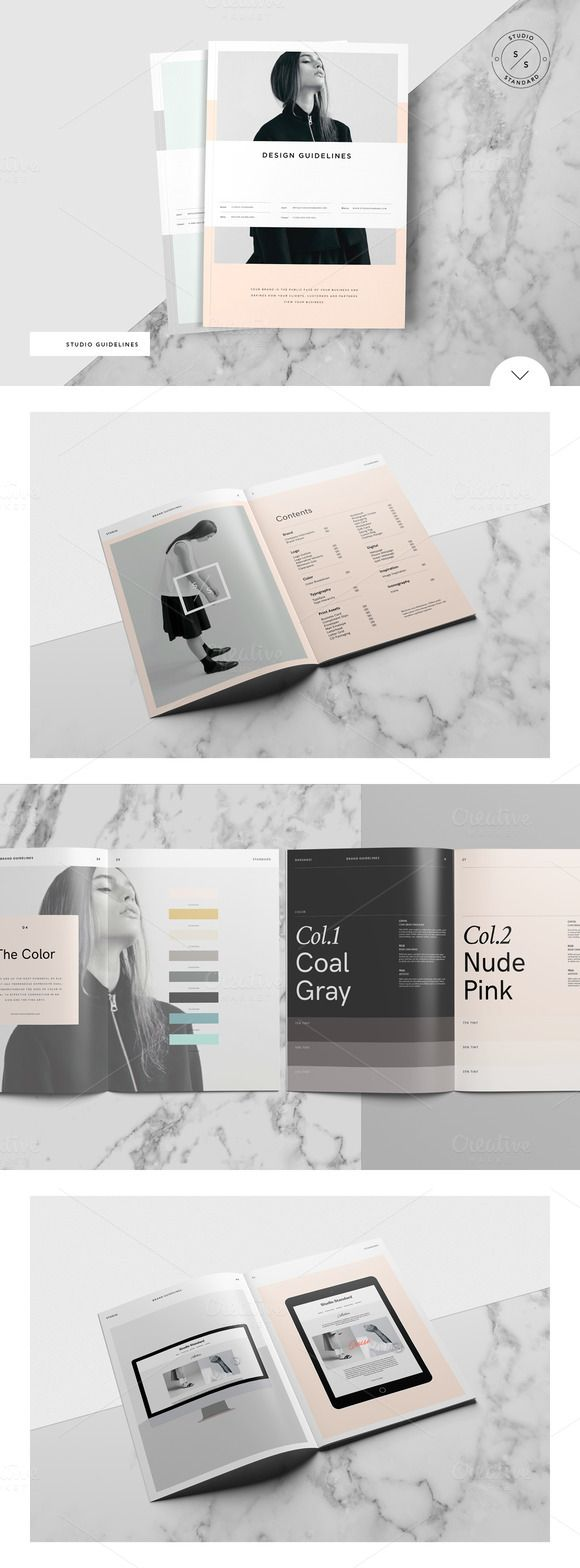 The Studio Guidelines template is a 60 page Design Guidelines Indesign template available in both A4 and US letter sizes.