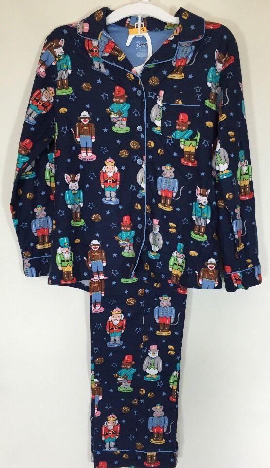 "NICK NORA 2015 ""Nutcracker"" Academy Animals Blue Flannel Women's Pajama Set S #NickNora #PajamaSets"