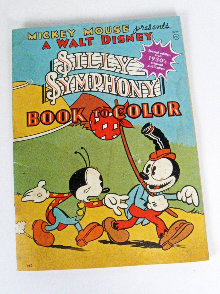 Vintage Walt Disney Silly Symphony Book To Color