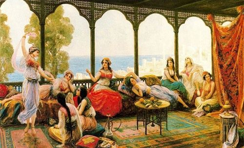 Fabio Fabbi - Harem Ladies on a Terrace Overlooking the Bosphorus. With the Orientalism movement of the late 19th century, European artists introduced the world to the hookah