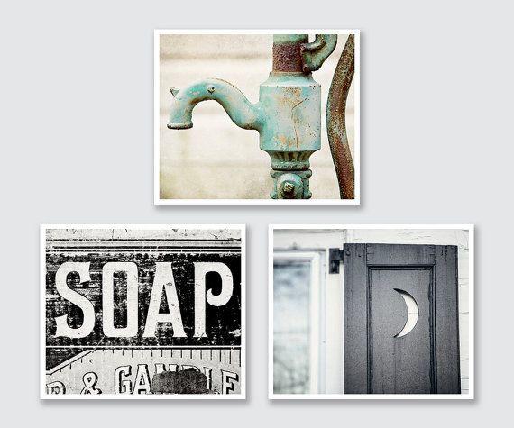 Cottage Bathroom Decor Set of 3 Prints, Rustic Bathroom Decor, Vintage Shabby Chic Bathroom Art, Canvas Art Wrap or Fine Art Prints.