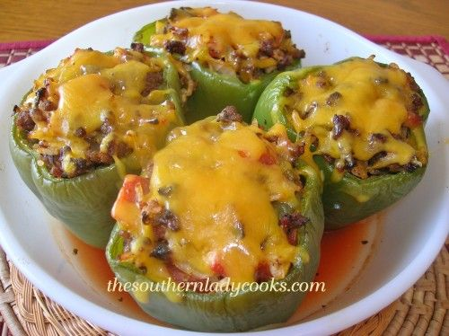 STUFFED GREEN PEPPERS-This recipe made it to the top 10 most popular recipes on my site for 2013.