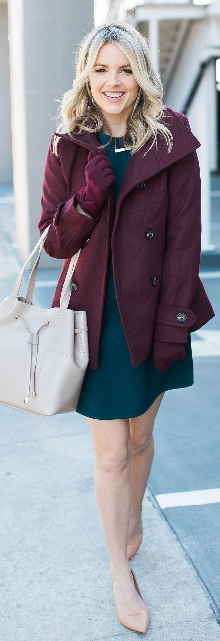 Black leather gloves cape town - Burgundy Coat Burgundy Leather Gloves Black Dress Nude Pumps Light Leather Tote