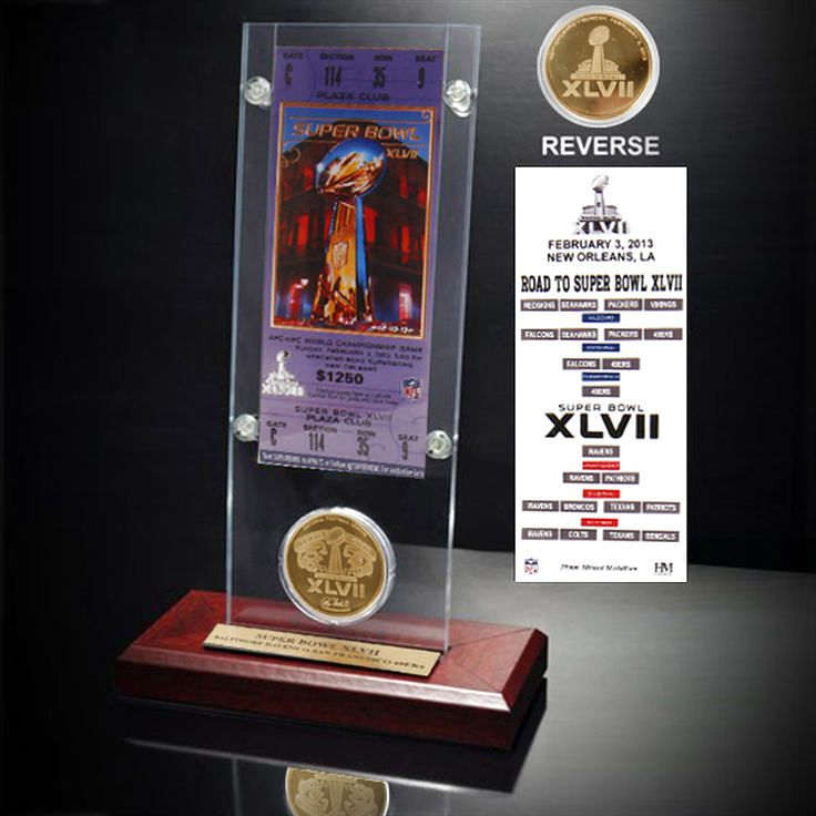 Baltimore Ravens Super Bowl XLVII Ticket and Game Coin Acrylic Display - $31.99