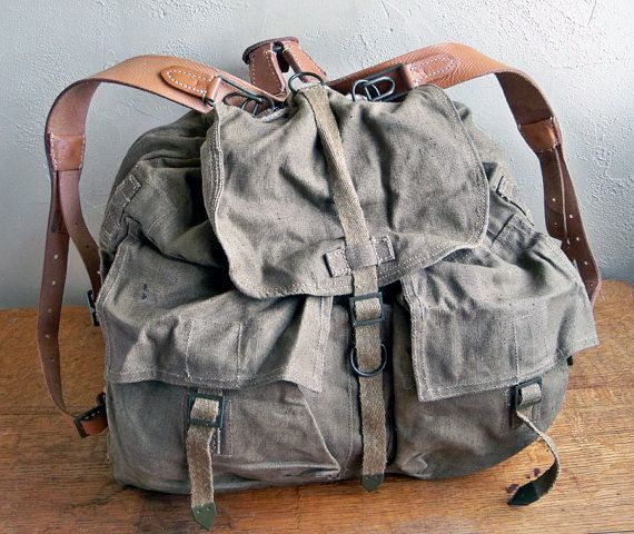 Vintage Army Surplus Backpack  Rucksack  Canvas by leapinglemming, $41.95
