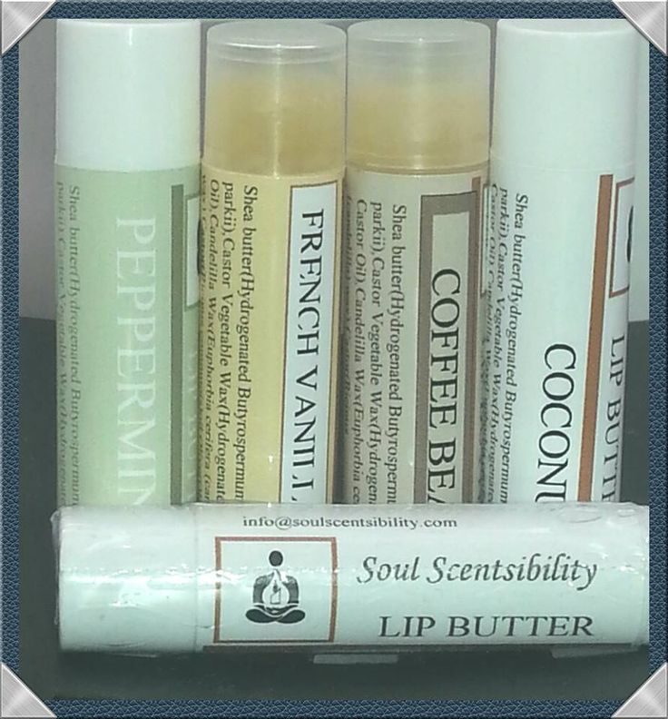 Made with no animal by products, these little lip butters will leave your lips soft and supple. why not try all 4 scents, well with this variety pack you can.Made with ingredients like: Natural flavor oil, castor oils, vegetable waxes, Shea and Cocoa butters.No petroleum or mineral oil used. These lip butters are unsweetened. Variety Pack comes with 4 Lip butters - Peppermint, French Vanilla, Coffee and Coconut