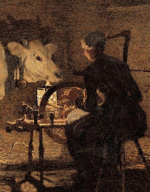"""Spinning"" (detail), 1891, Giovanni Segantini."
