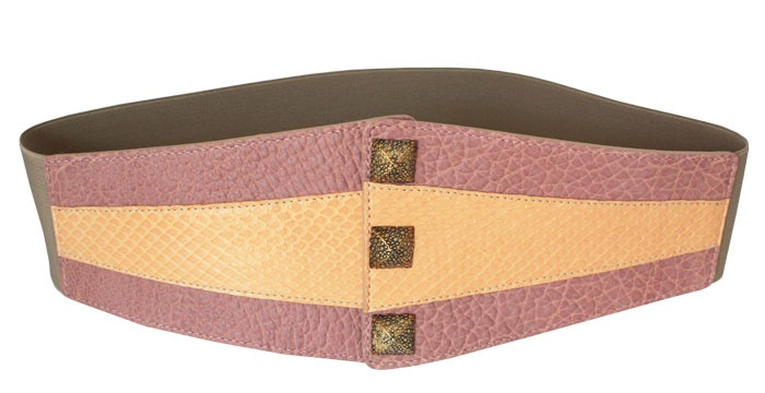 VANGLE - Genuine Python Leather - Made in Italy | Cintura con elastico realizzata in pelle di Vacchetta col. Rosa e inserto in Pitone col. Arancio - n°3 borchie in Ottone