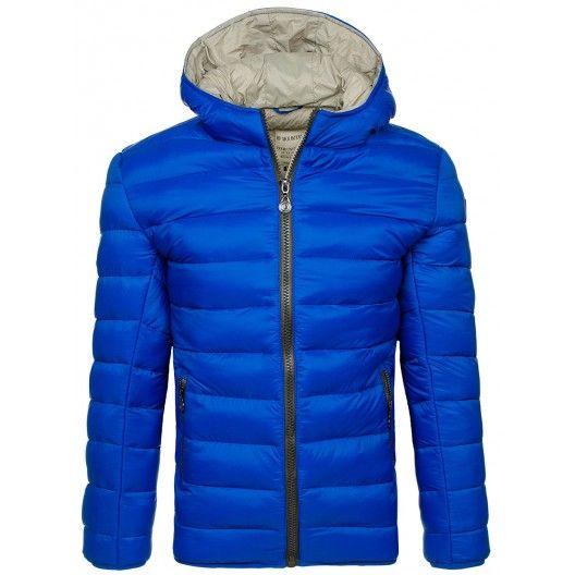 Hrubá pánska prešívania bunda na zimu v modrej farbe - manozo.cz
